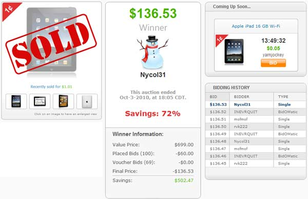 Penny Auction iPad Sold