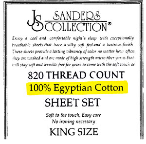 Label on Sanders Collection Scam Bed Sheets